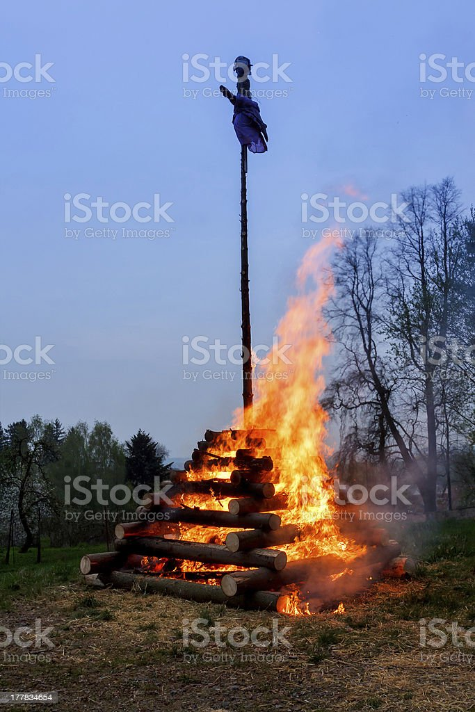 big walpurgis night fire with witch on pile stock photo