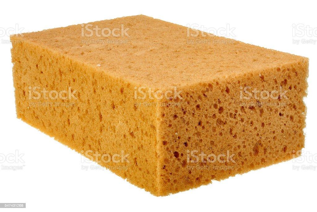 Big washing sponge isolated on white background stock photo