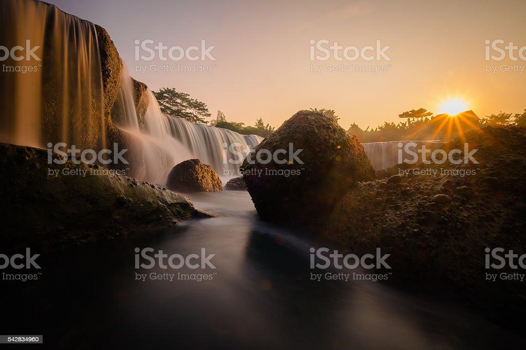 Big waterfall called Mini Niagara in Indonesia stock photo