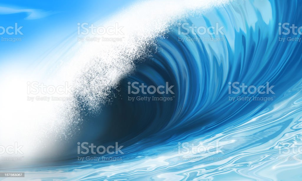 big wave painting stock photo