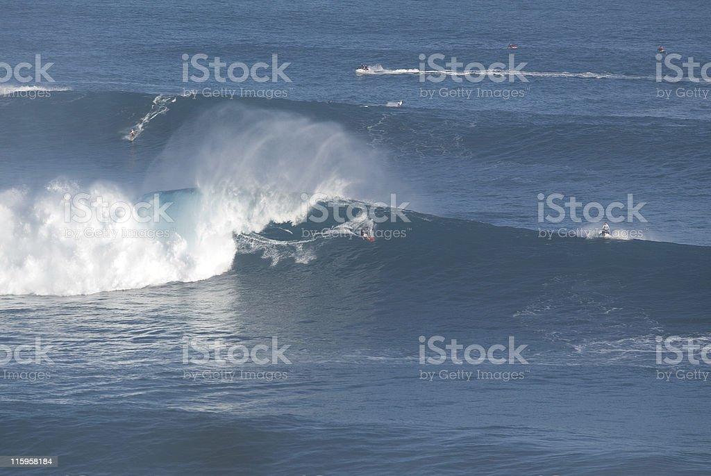 Big Wave Surfing at Jaws Maui royalty-free stock photo