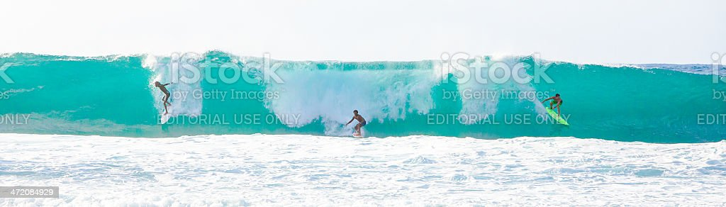 Big Wave Surfing in Hawaii stock photo