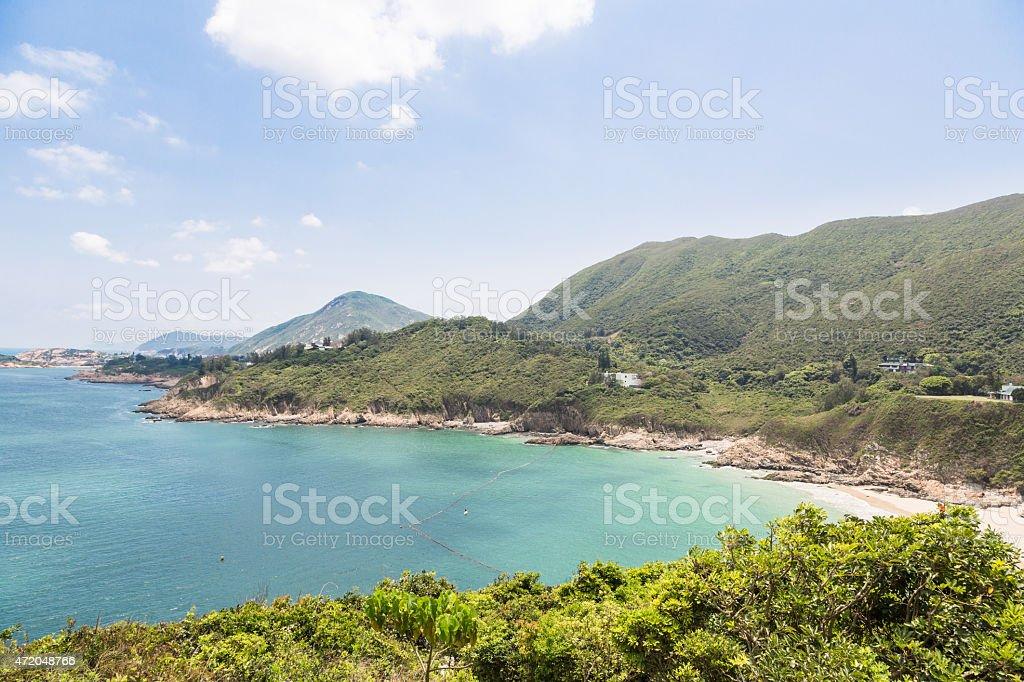 Big waves beach in Hong Kong stock photo