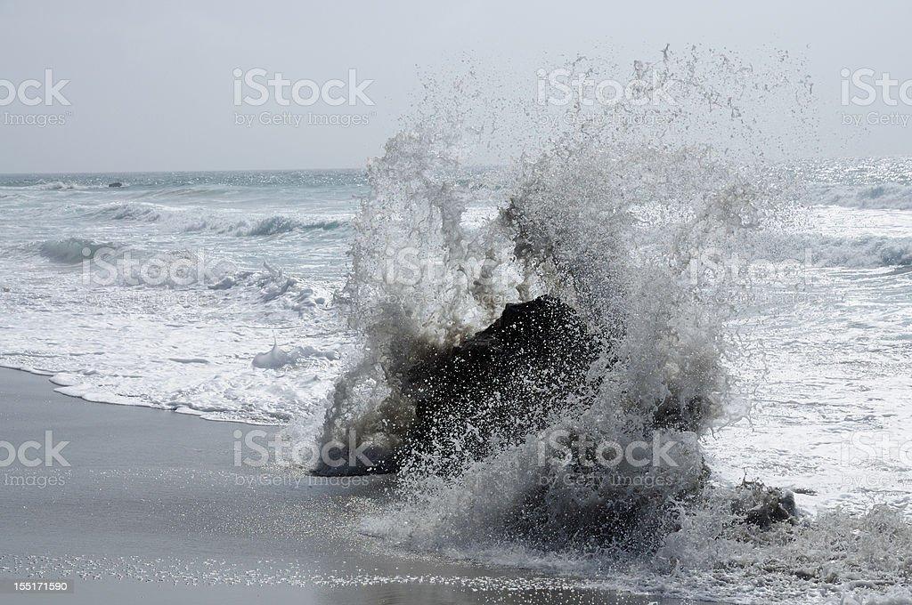 Big waves on the west coast of Fuerteventura stock photo