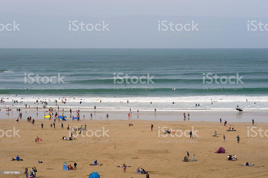 Big waves on Towan beach, Newquay, Cornwall, UK. stock photo