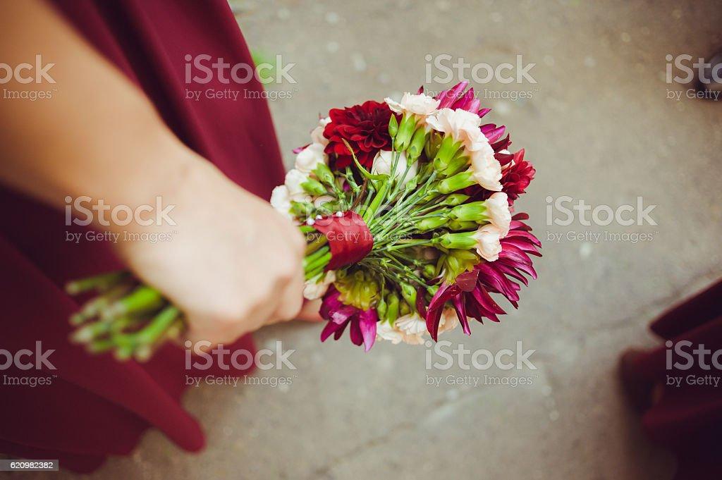 Big wedding bouquet before ceremony. stock photo