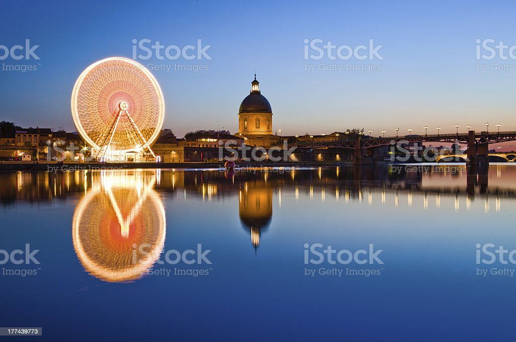 Big wheel in Toulouse center stock photo