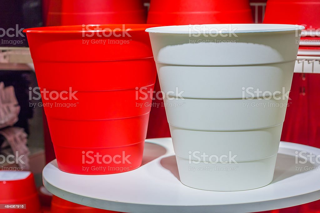Big white and red color plastic basket stock photo
