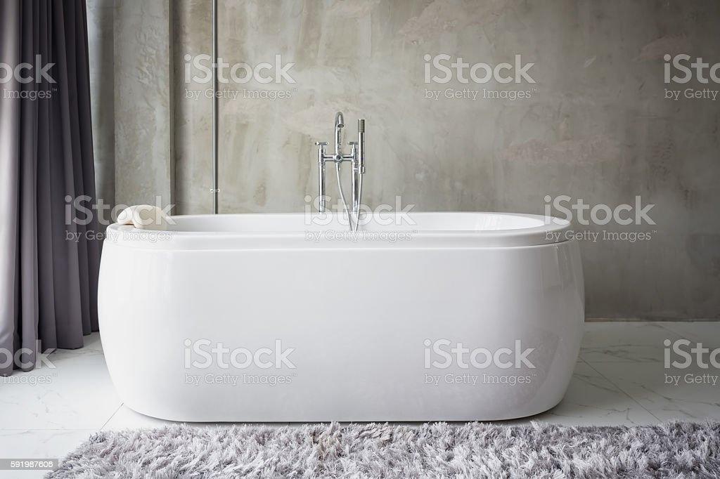 Big white bathtub stock photo