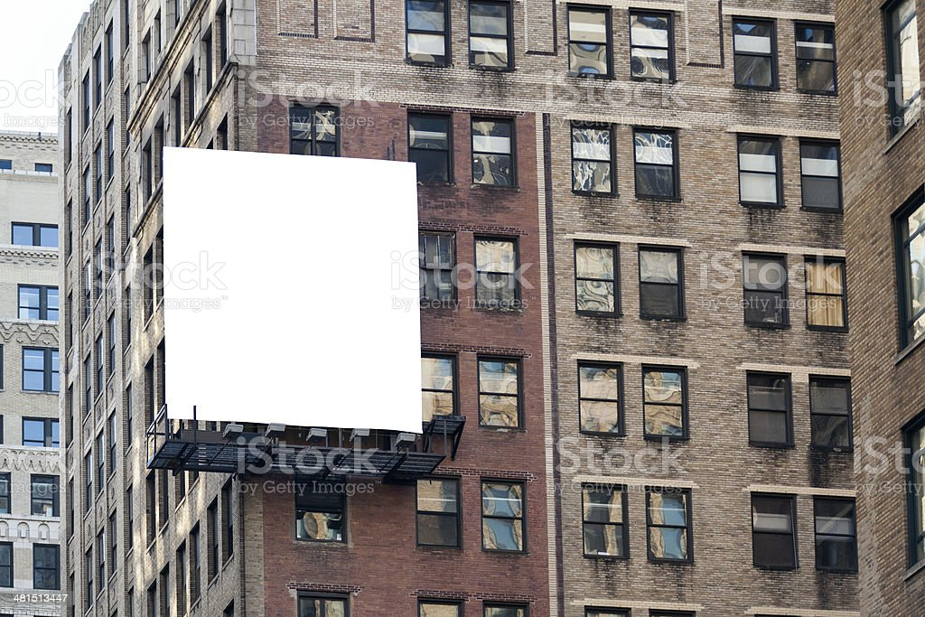 Big white billboard on the wall. stock photo