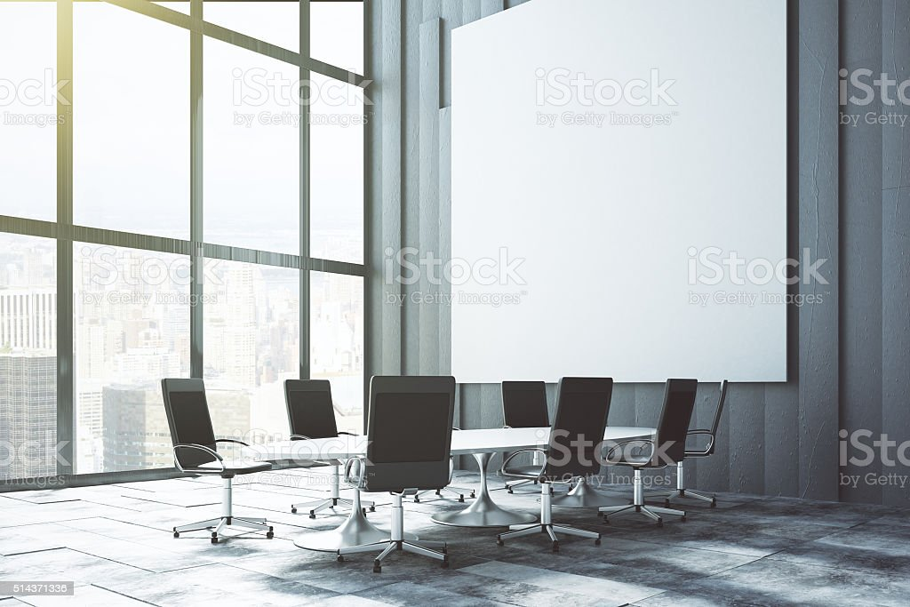 Big white blank poster on the wall stock photo