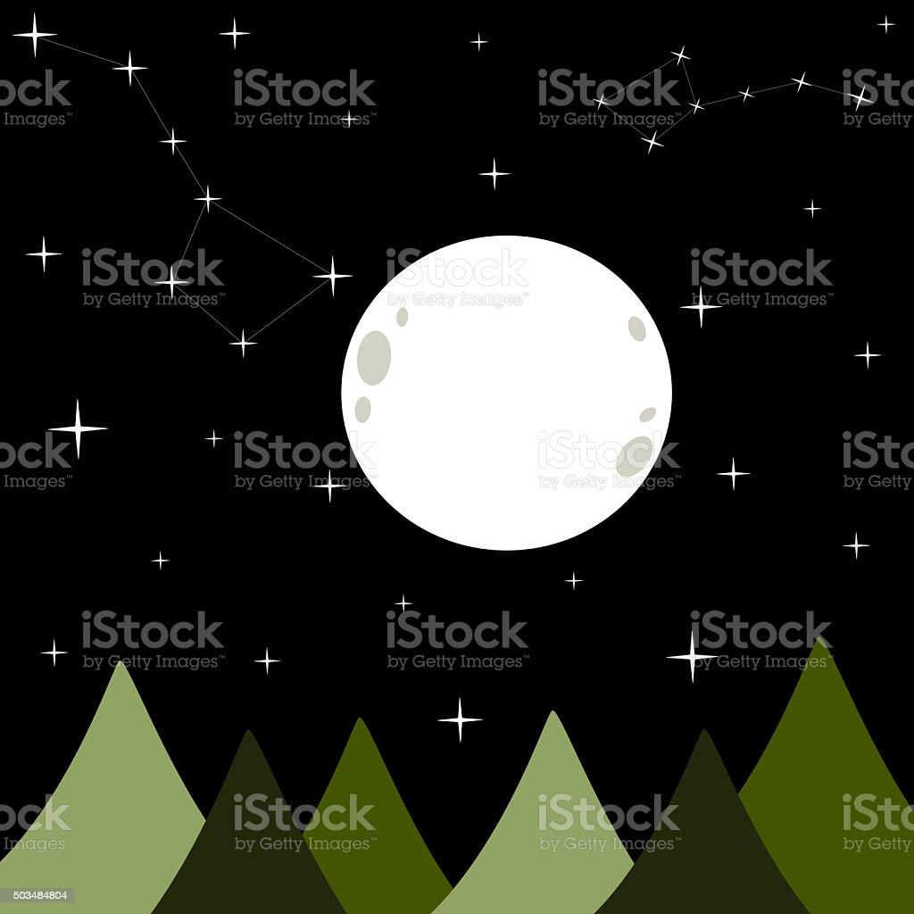 big white full moon in a black dark starry night stock photo