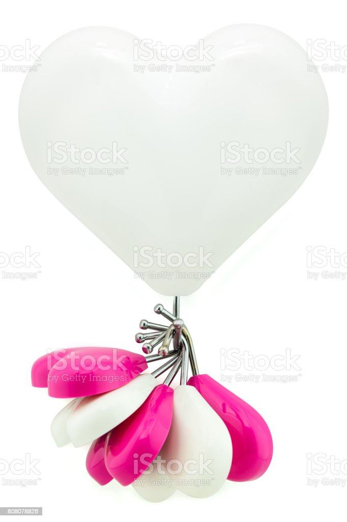 Big white heart magnet hook hanging small white and pink hearts isolated on white, big boss care of supporter business concept stock photo