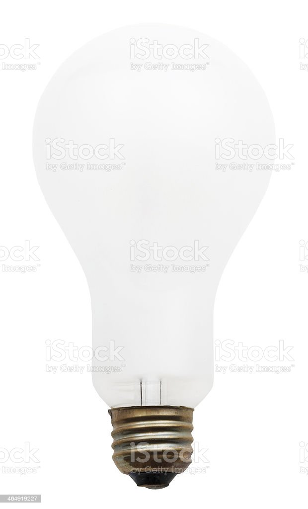 big white incandescent light bulb stock photo