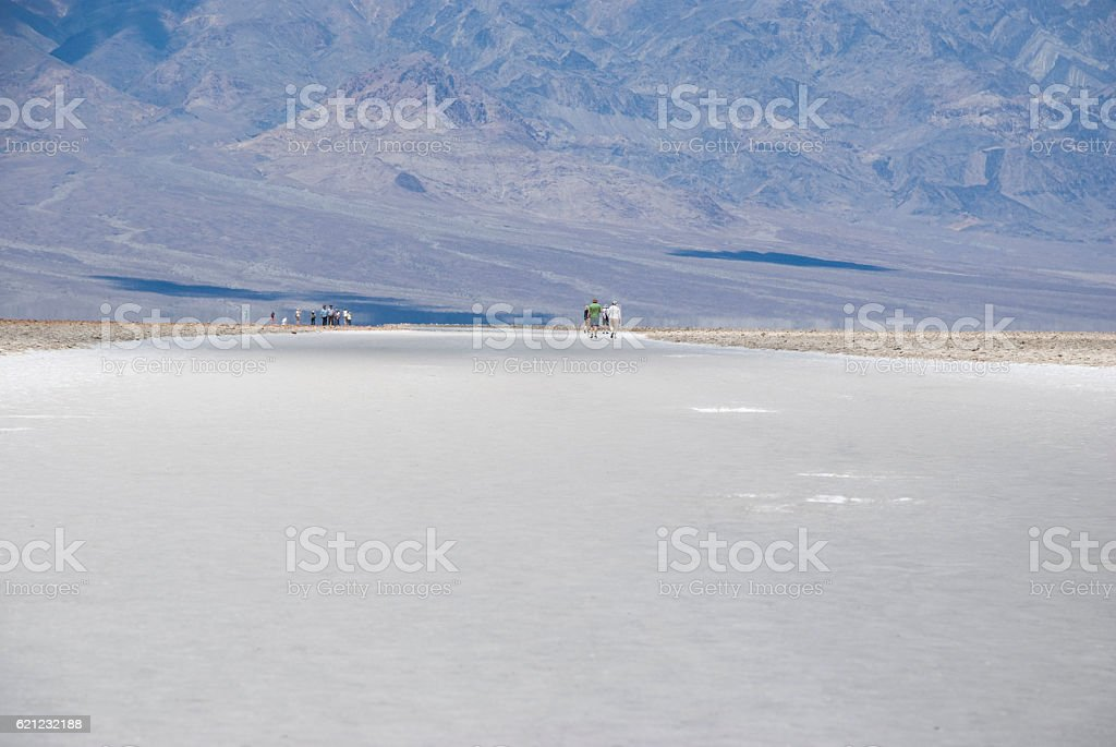big white salt area at Badwater in Death Valley, California stock photo