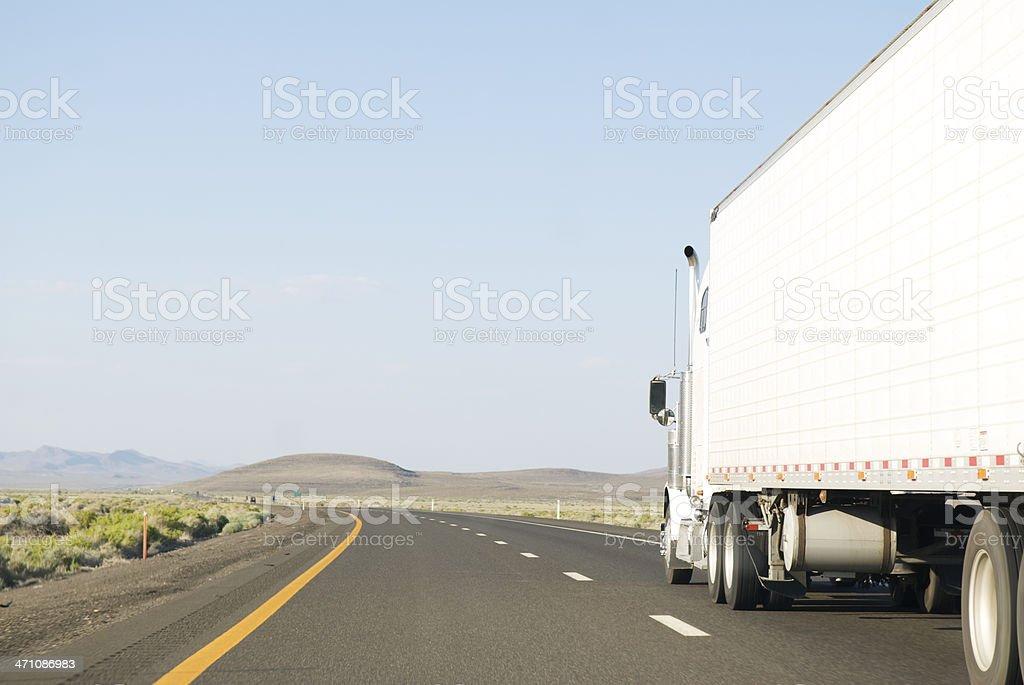 Big White Truck Empty Road royalty-free stock photo