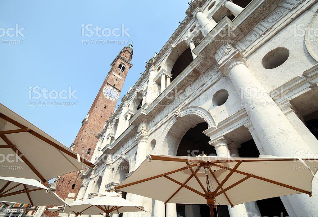 big white umbrella in the main square of Vicenza City stock photo