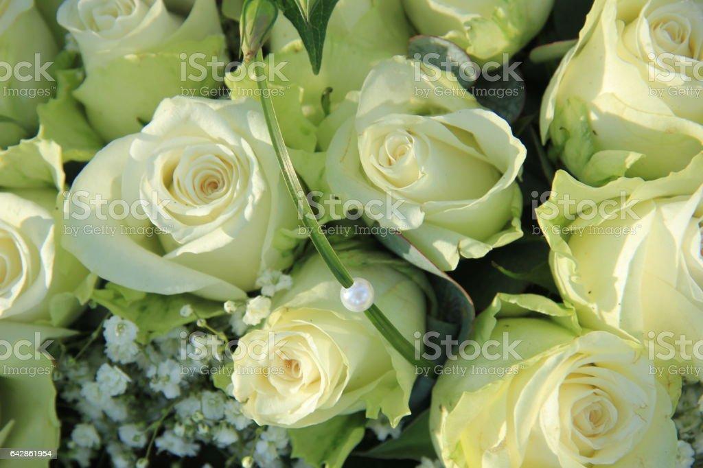 Big white wedding roses stock photo