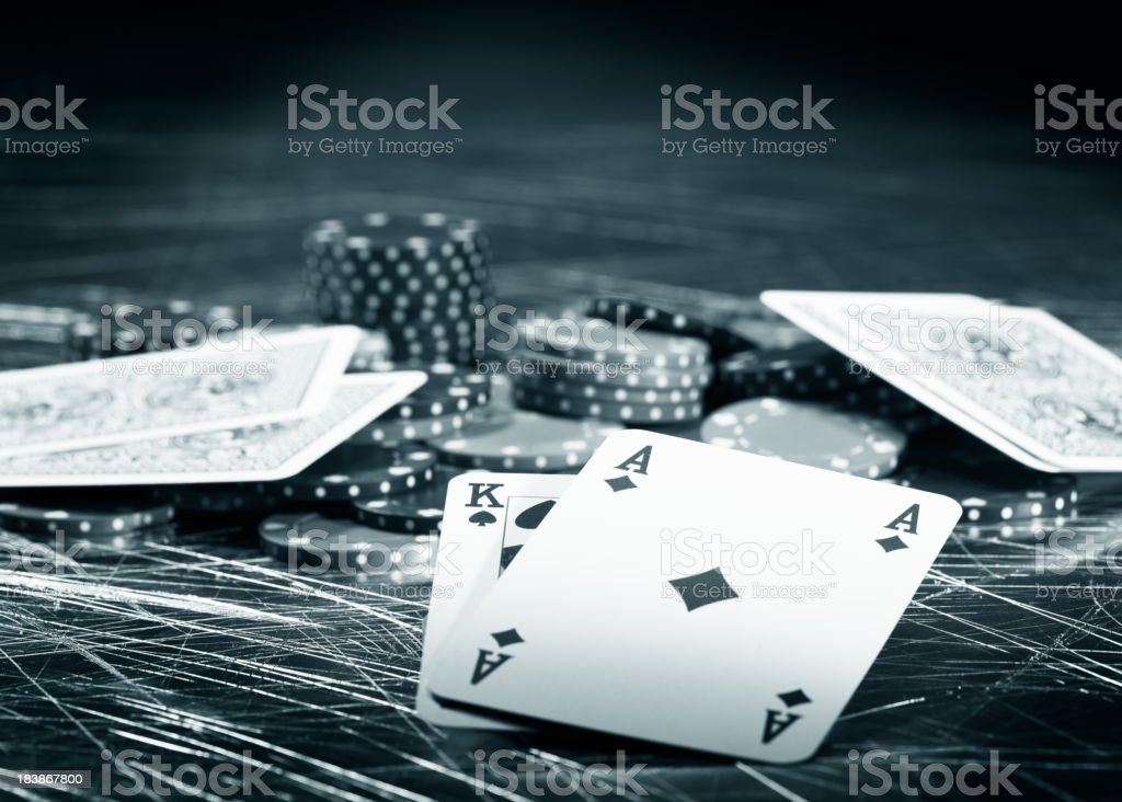 Big win at a game of poker royalty-free stock photo