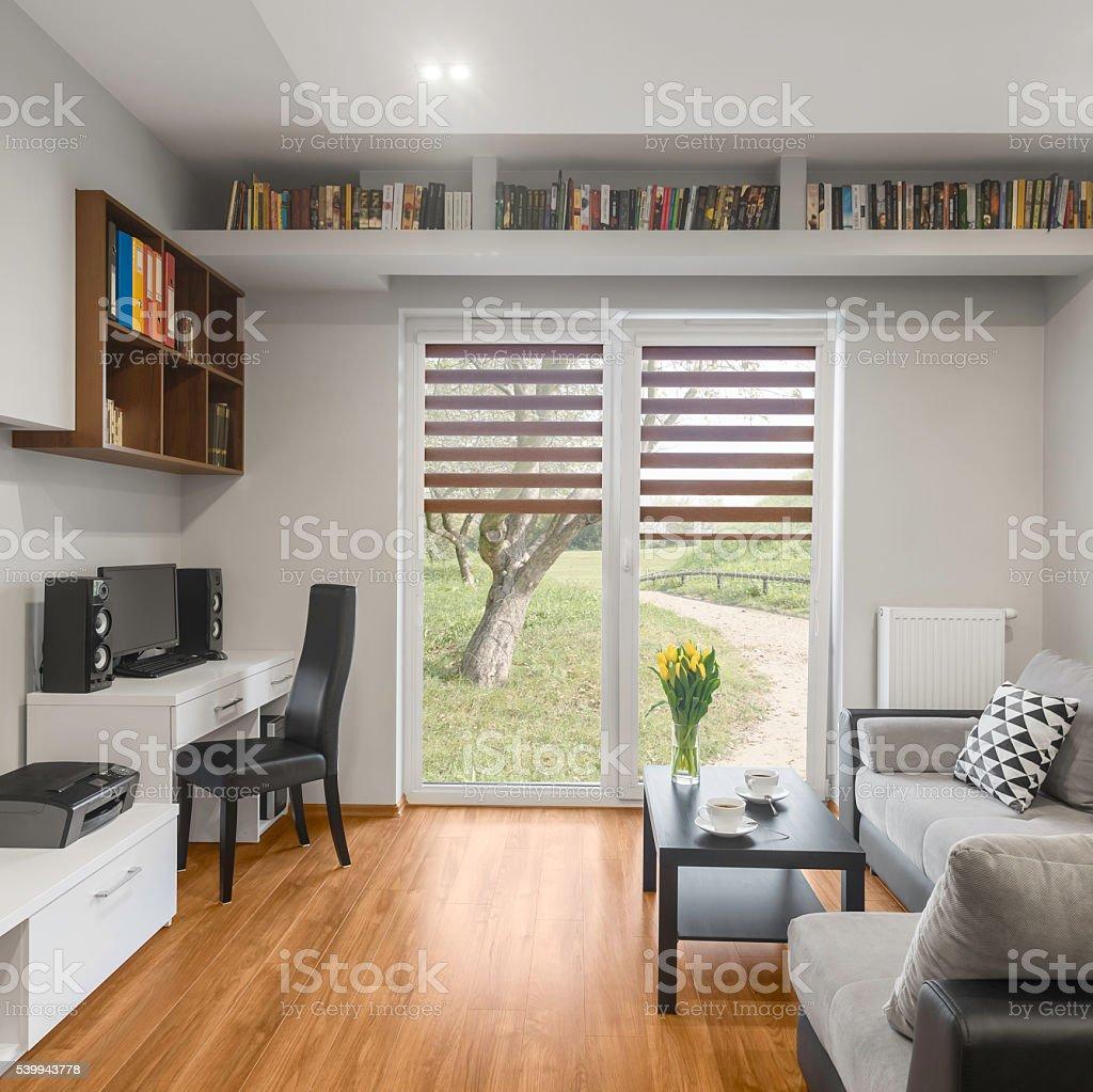 Big window in living room stock photo