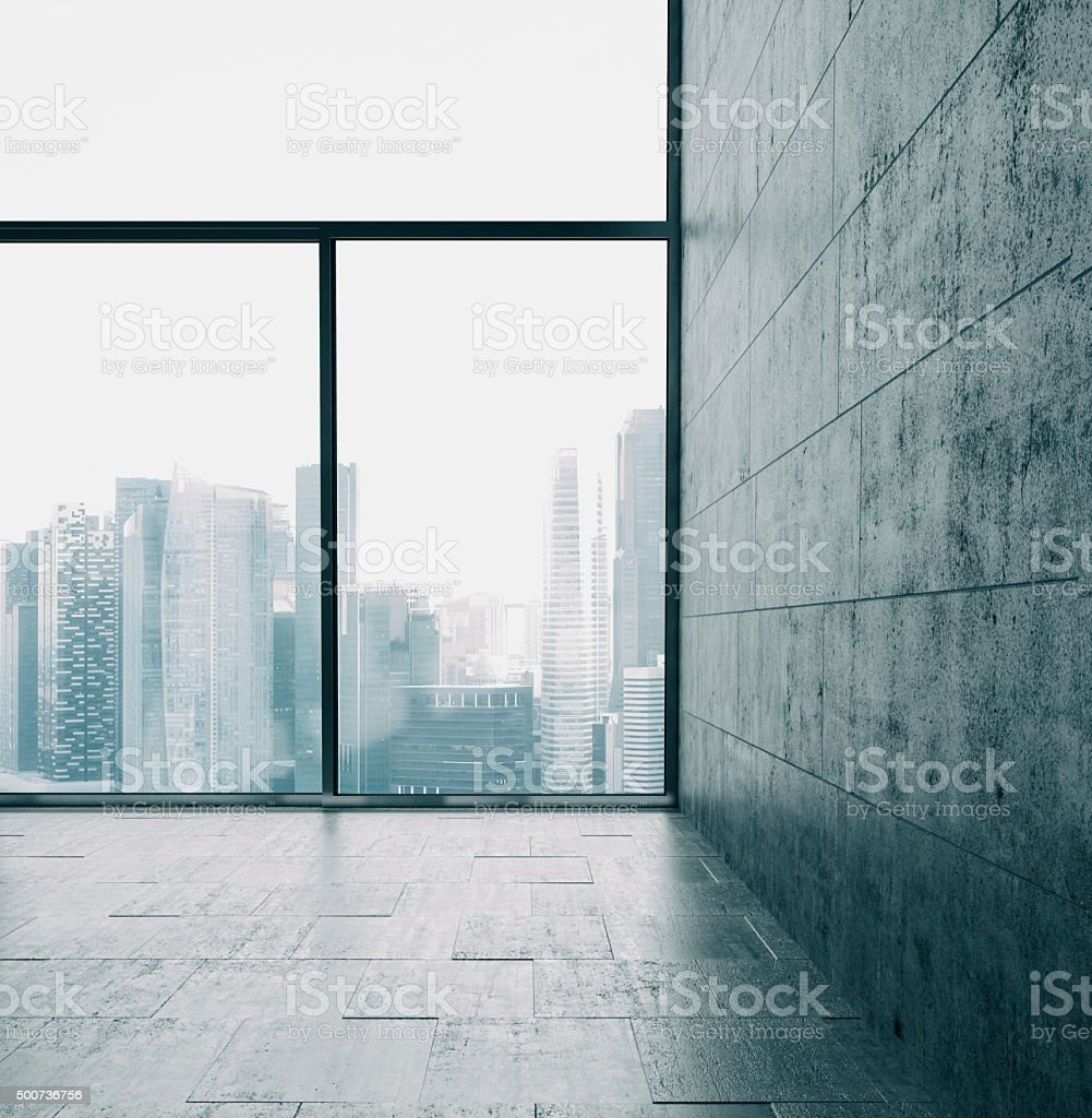 Big windows and cocrete wall. 3d render stock photo