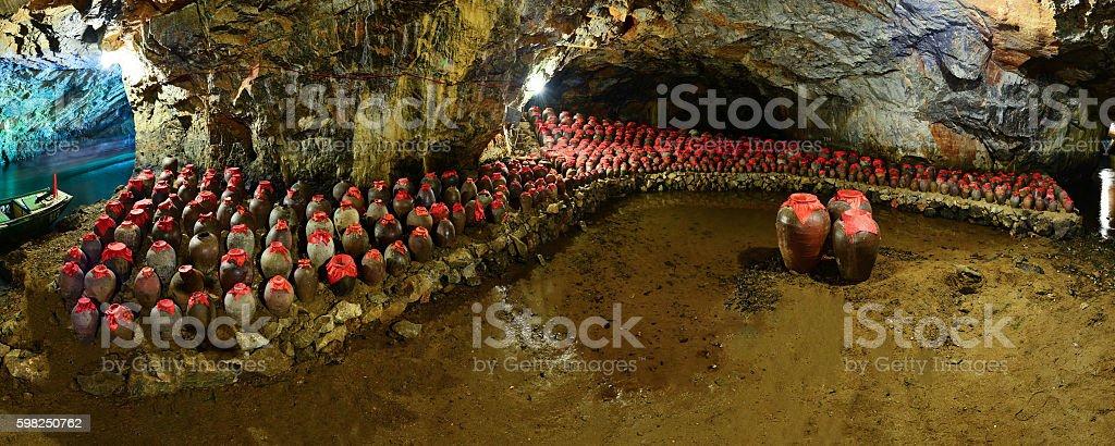 Big wine jars in the cave stock photo