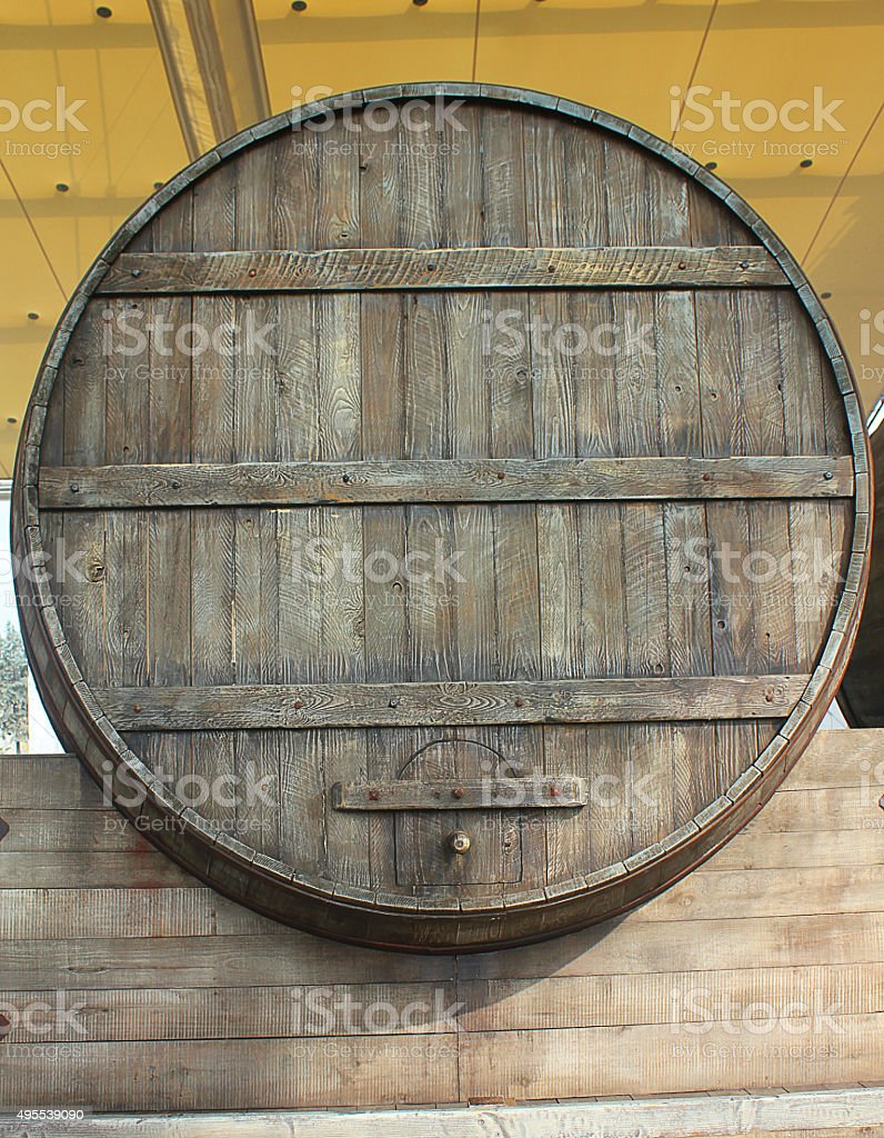 big wood barrel stock photo