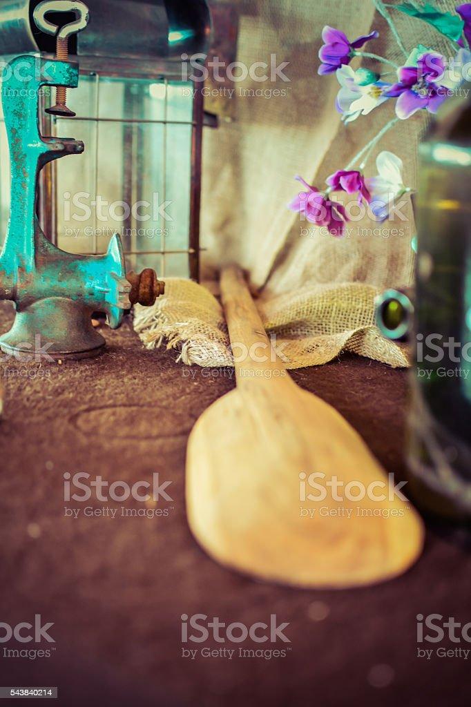 big wooden spoon stock photo