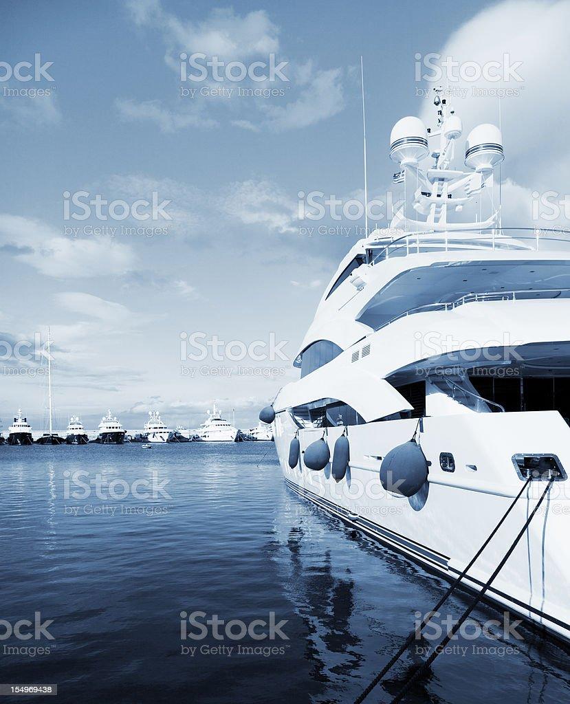 Big yacht in the marina. Summer season. stock photo