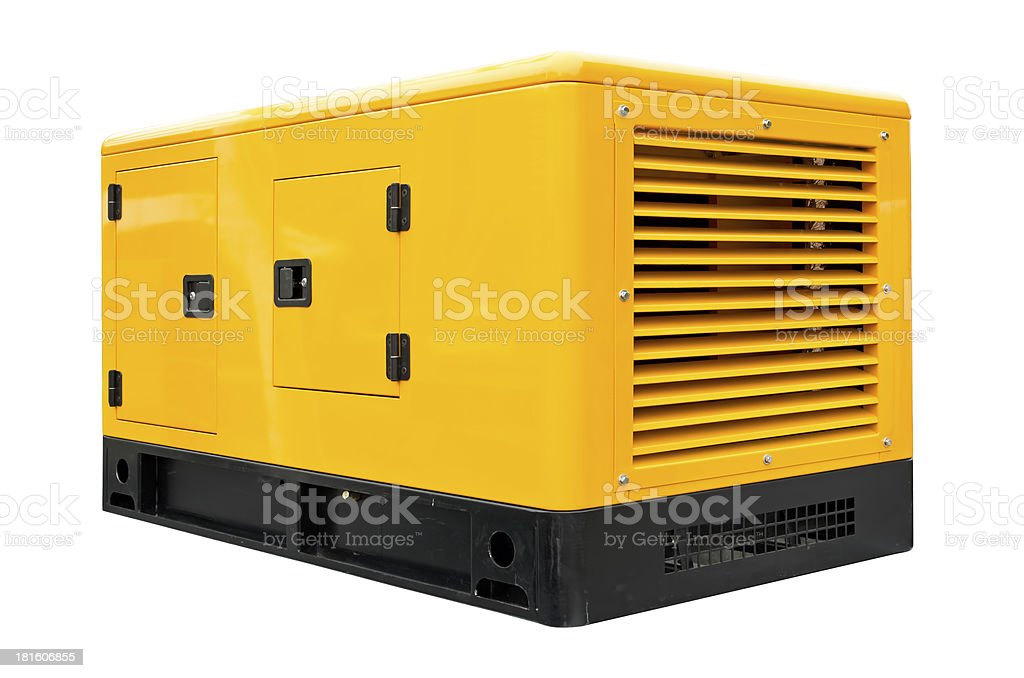 A big yellow and black generator stock photo