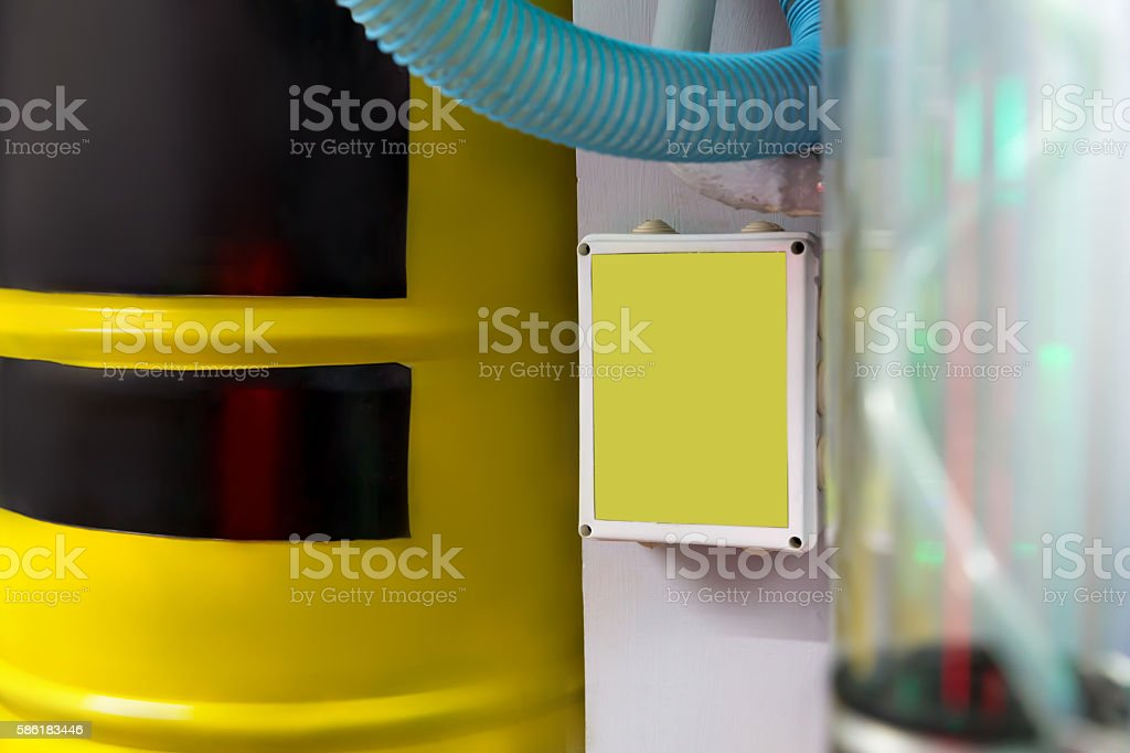 Big yellow barrel stock photo