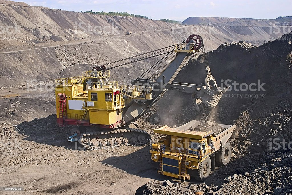 big yellow mining truck stock photo