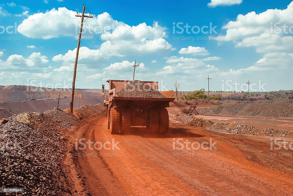 Big yellow mining truck stock photo