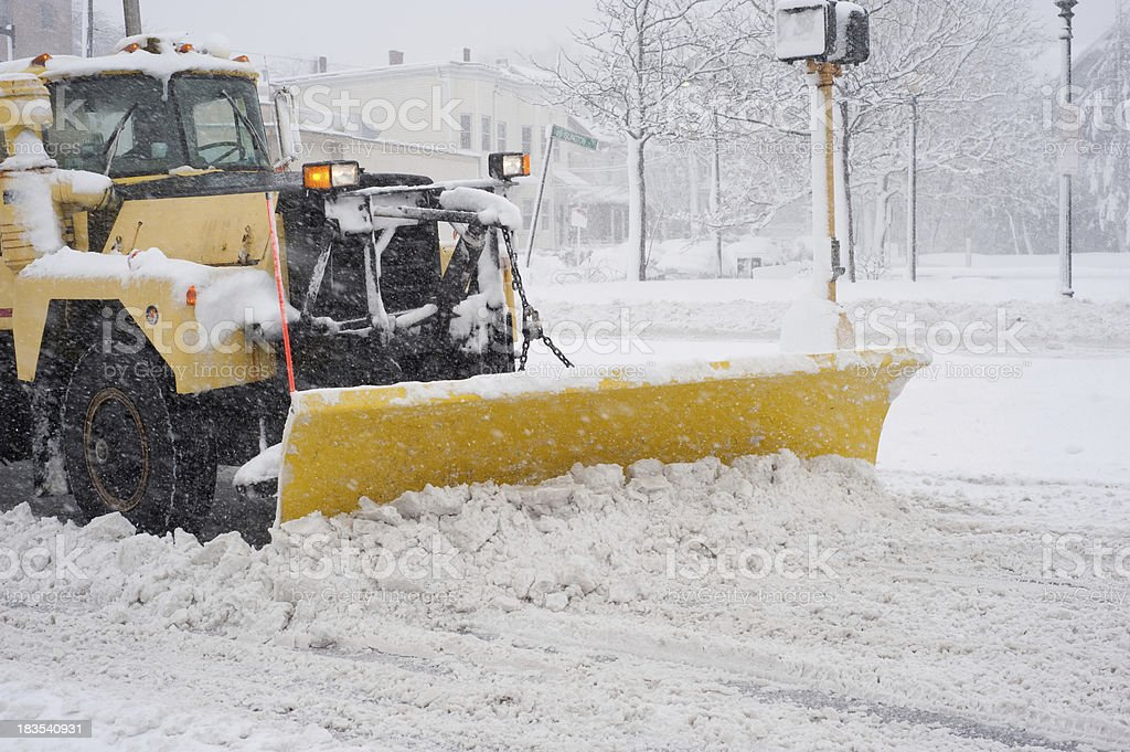 Big Yellow Snow Plow in a Blizzard royalty-free stock photo