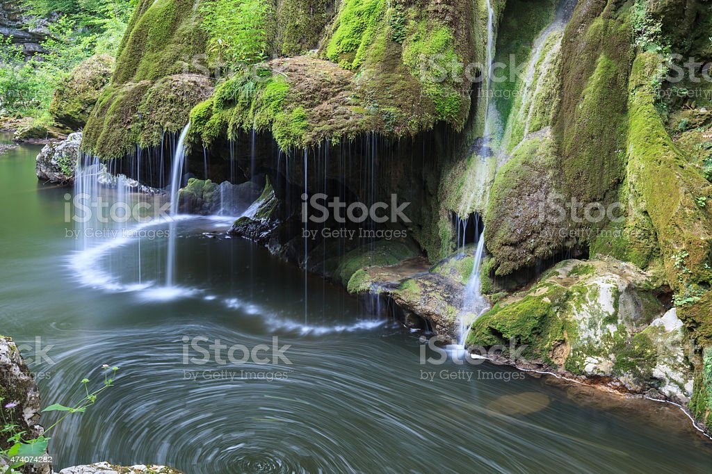 Bigar Cascade Falls in Nera Beusnita Gorges National Park, Romania stock photo
