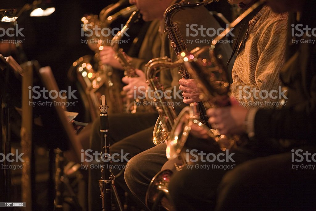bigband: saxophone section of a jazz band in concert stock photo