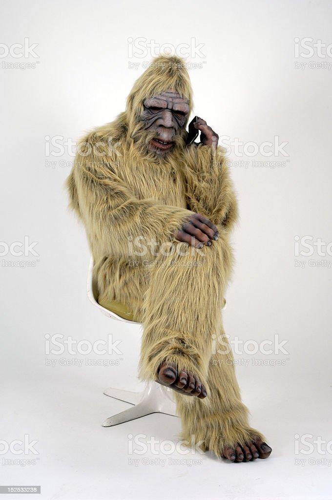 Bigfoot on Cellphone stock photo