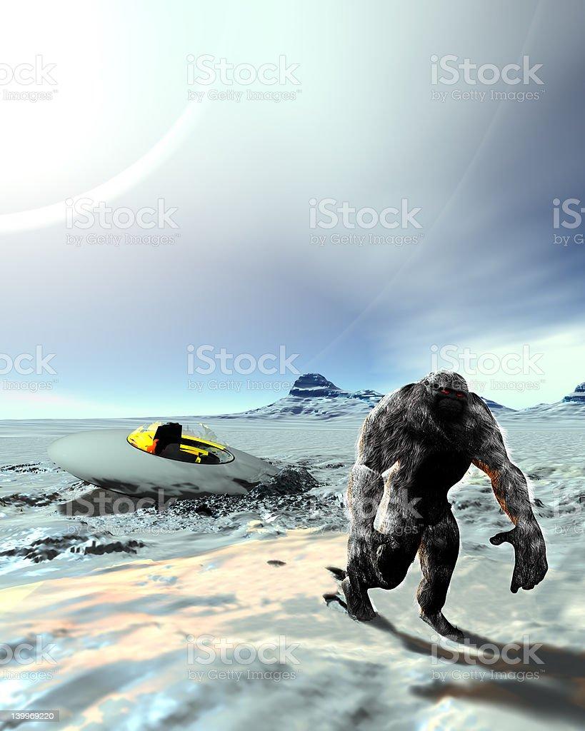 Bigfoot Yettie UFO Connection stock photo