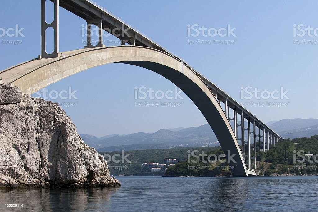 Bigger arch of bridge Krk, view from water level royalty-free stock photo