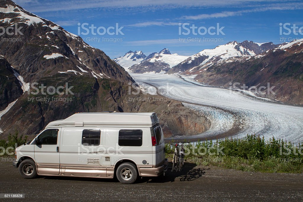 Biggest glacier of Canada in Stewart near Hyder, Alaska. stock photo