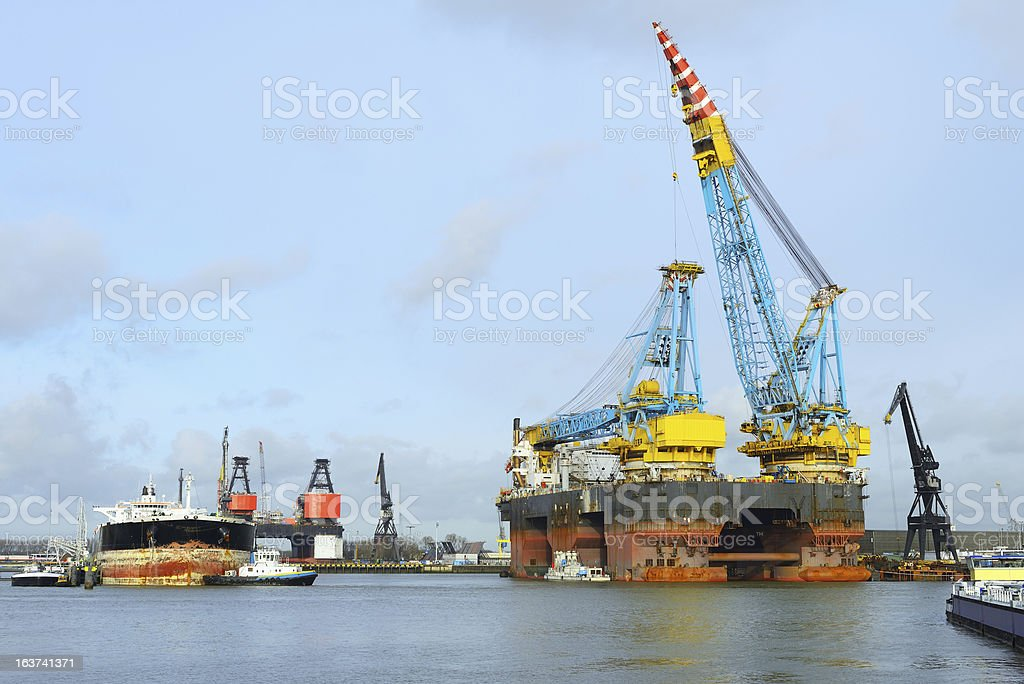biggest offshore crane vessel in the world royalty-free stock photo