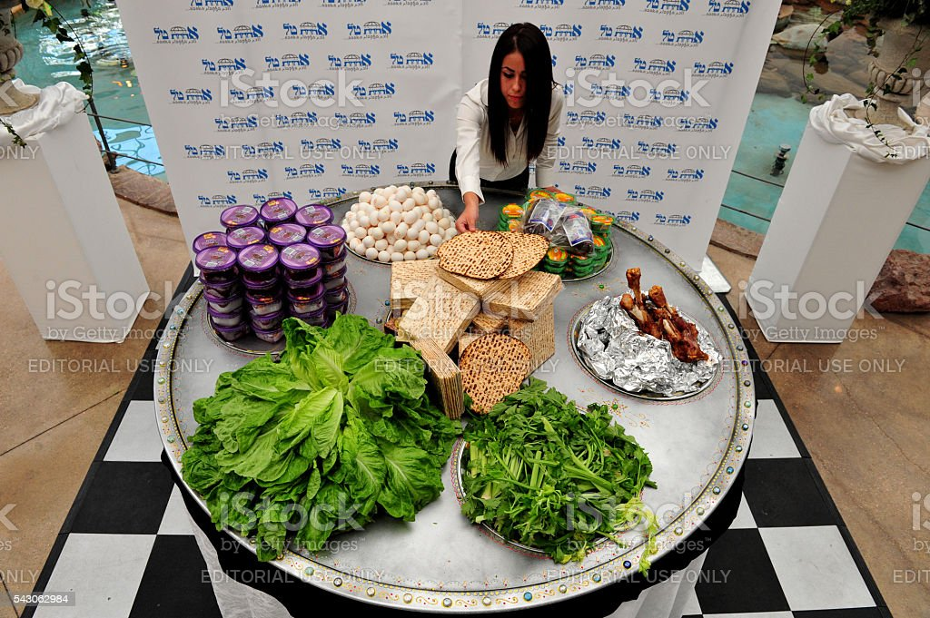 Biggest Passover Seder Plate in the World stock photo