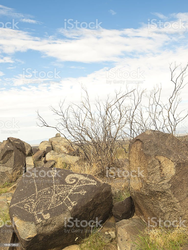 Bighorn sheep petroglyph in New Mexico royalty-free stock photo