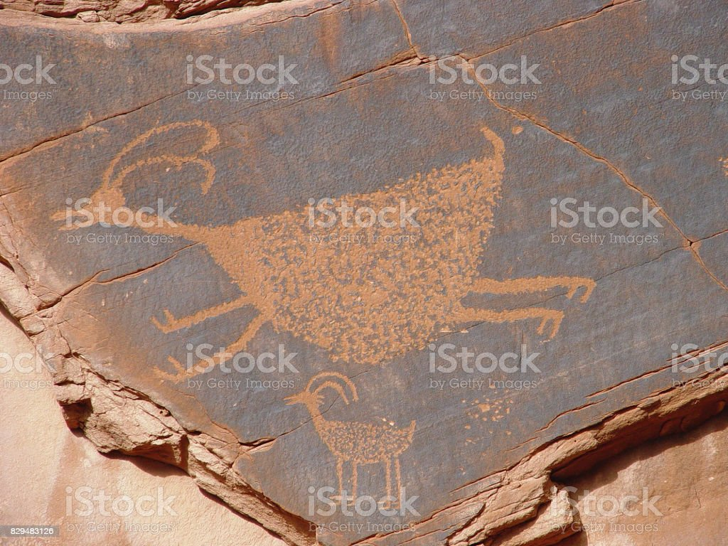 Bighorn Sheep Petroglyph, Monument Valley stock photo