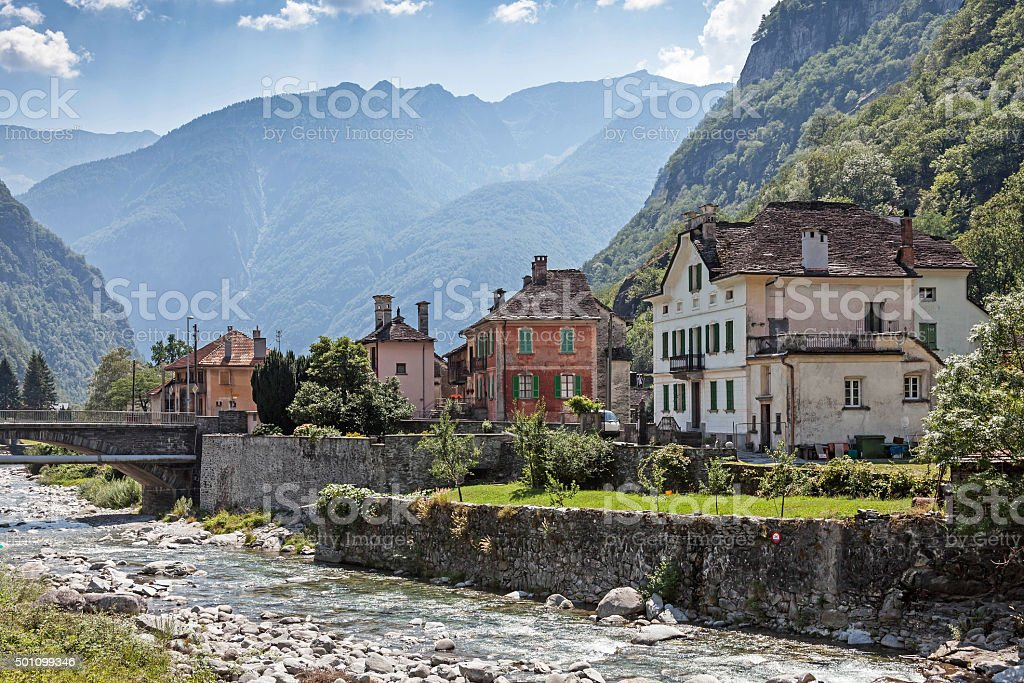 Bignasco in the Maggia Valley stock photo
