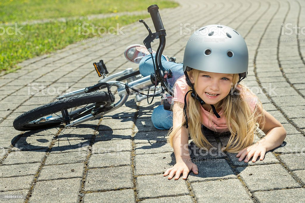 Bike accident stock photo