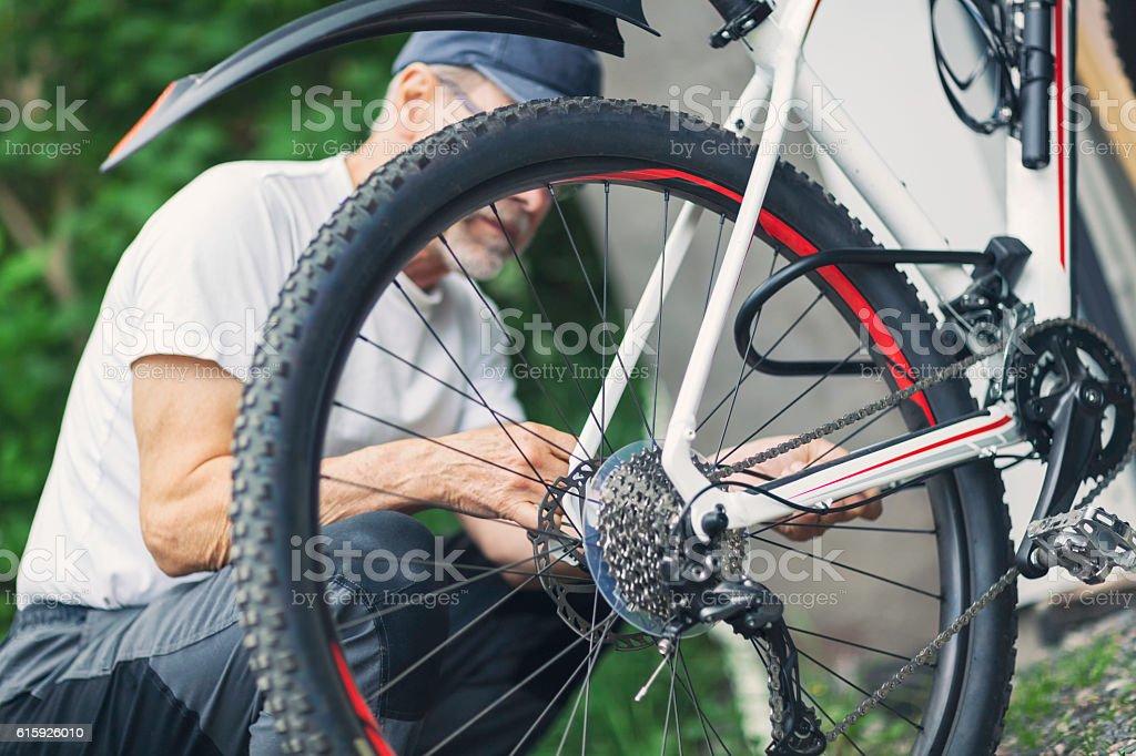 Bike adjustments stock photo