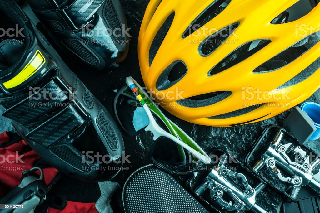 Bike and cycling sport accessories, border and frame, copy space stock photo