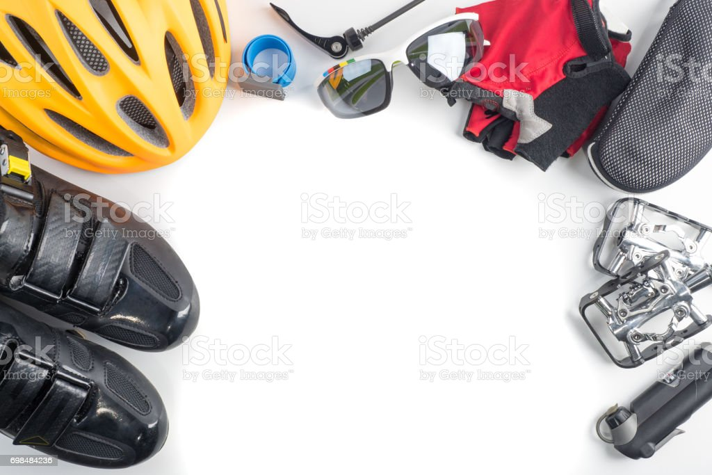 Bike and cycling sport accessories, border and frame, copy space, white background stock photo