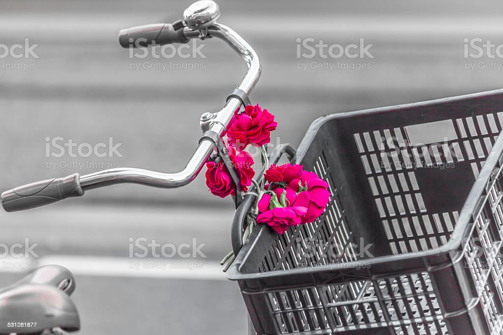 Bike and flower stock photo